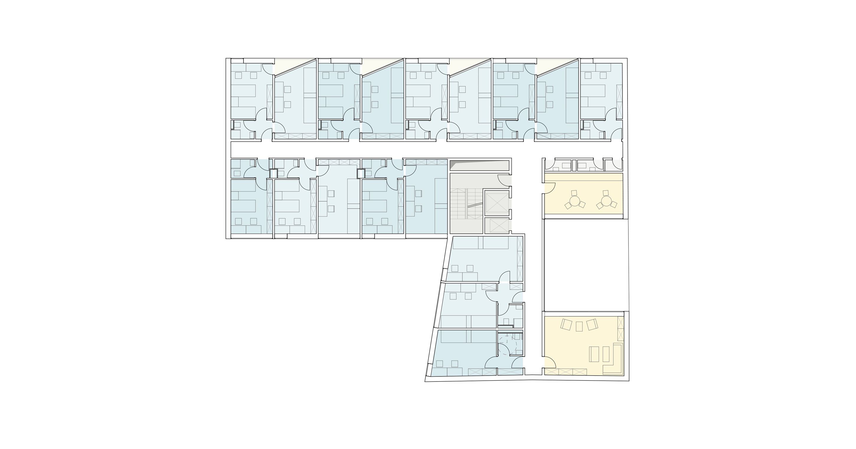 3h architecture corvinus student dormitories budapest plan